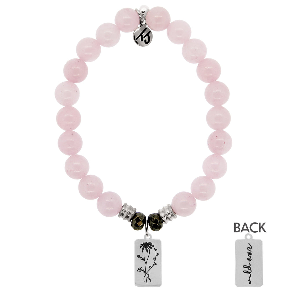Rose Quartz Stone Bracelet with Wild One Sterling Silver Charm