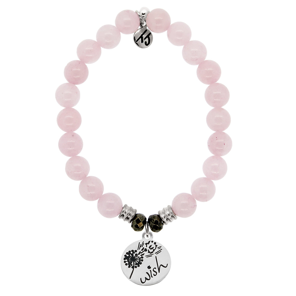 Rose Quartz Stone Bracelet with Wish Sterling Silver Charm