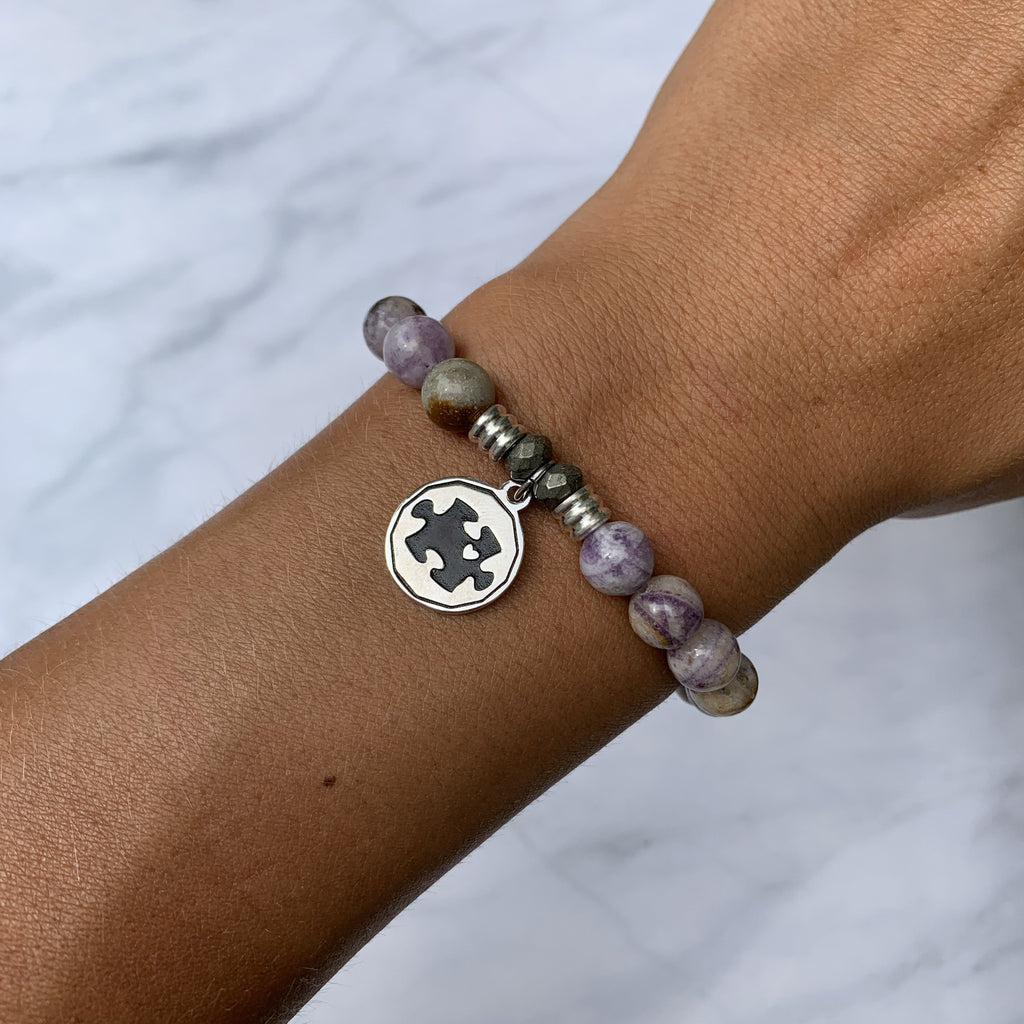 Sage Amethyst Agate Stone Bracelet with Autism Awareness Sterling Silver Charm