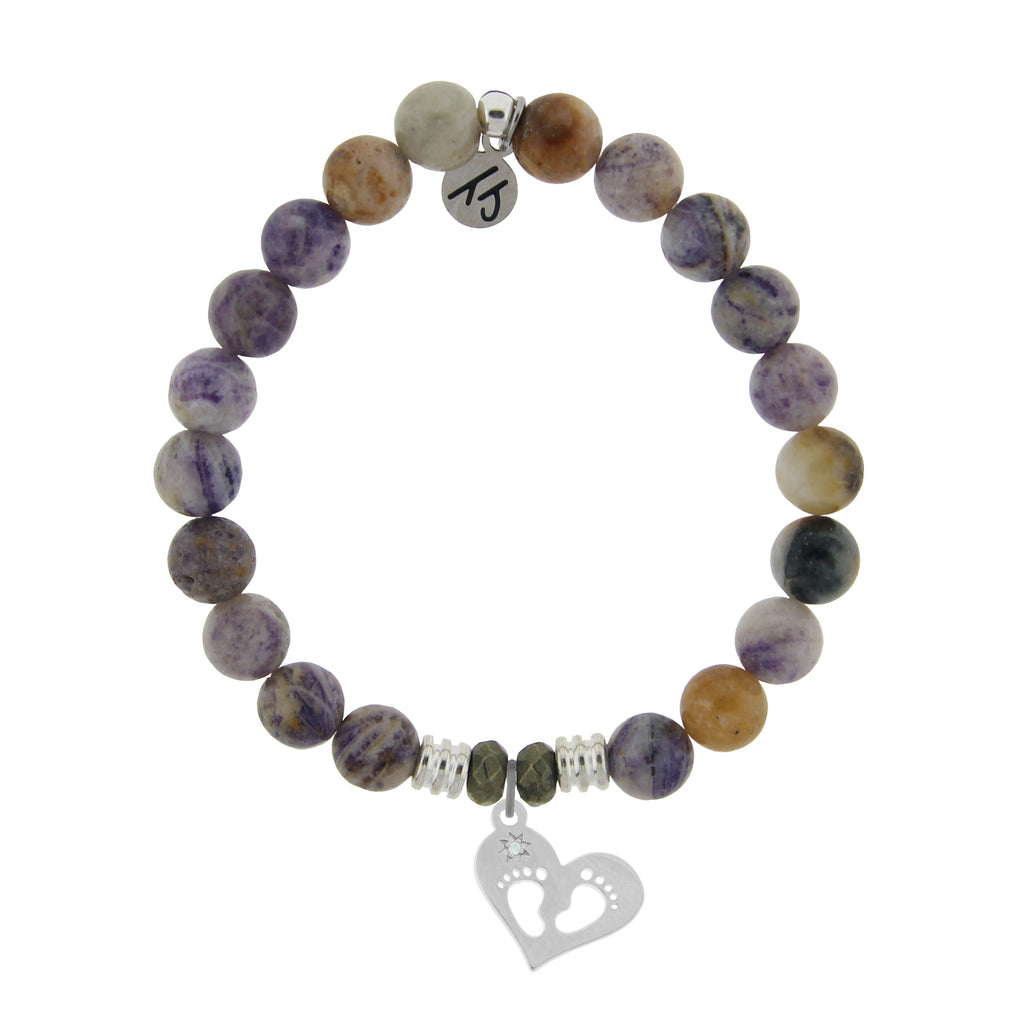 Sage Amethyst Agate Stone Bracelet with Baby Feet Sterling Silver Charm