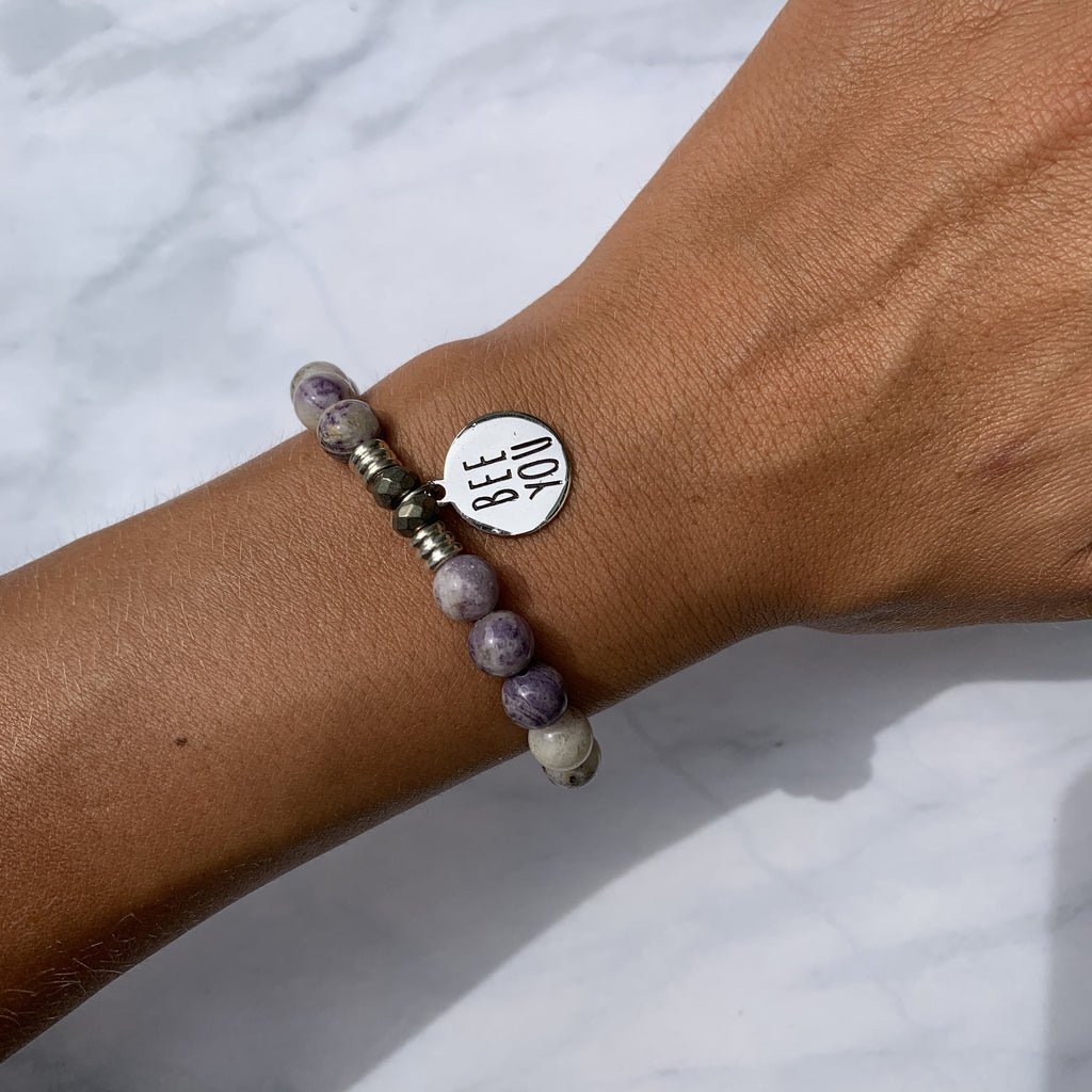 Sage Amethyst Agate Stone Bracelet with Bee You Sterling Silver Charm