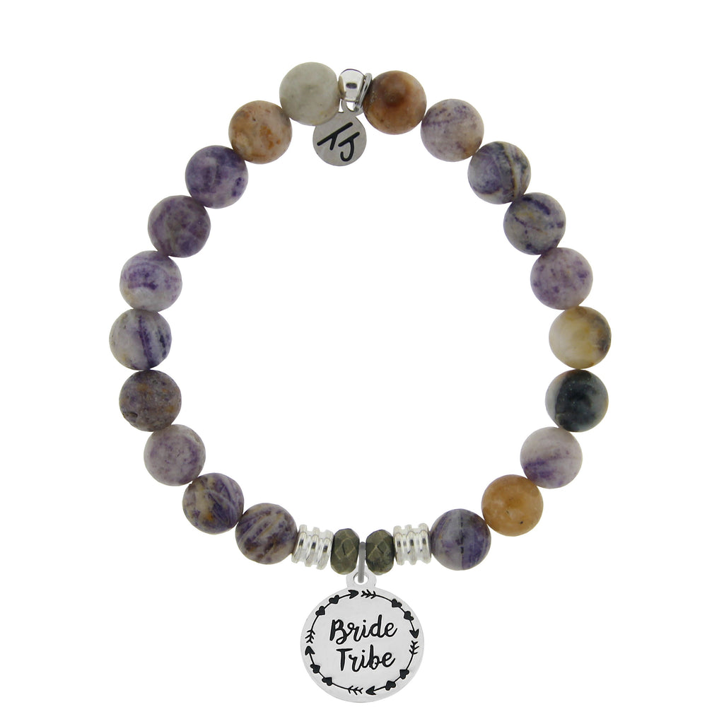 Sage Amethyst Agate Stone Bracelet with Bride Tribe Sterling Silver Charm