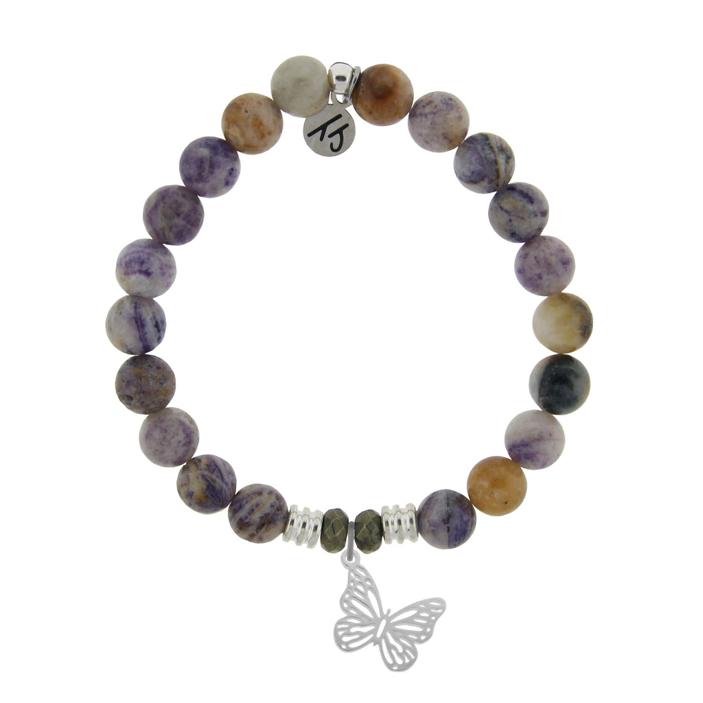 Sage Amethyst Agate Stone Bracelet with Butterfly Sterling Silver Charm