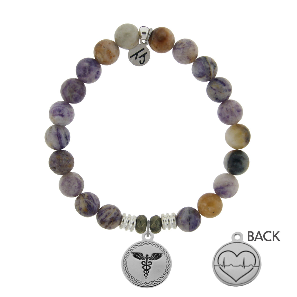 Sage Amethyst Agate Stone Bracelet with Caduceus Sterling Silver Charm