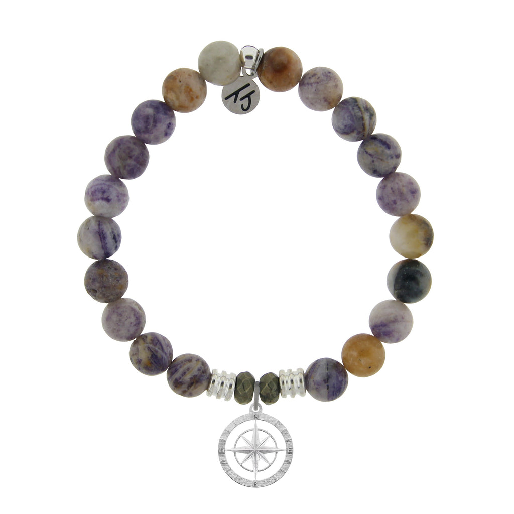 Sage Amethyst Agate Stone Bracelet with Compass Rose Sterling Silver Charm
