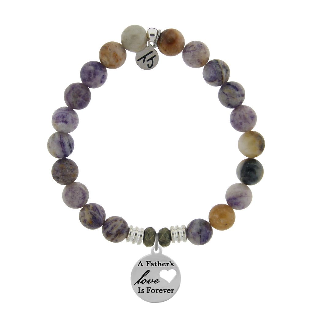 Sage Amethyst Agate Stone Bracelet with Fathers Love Sterling Silver Charm