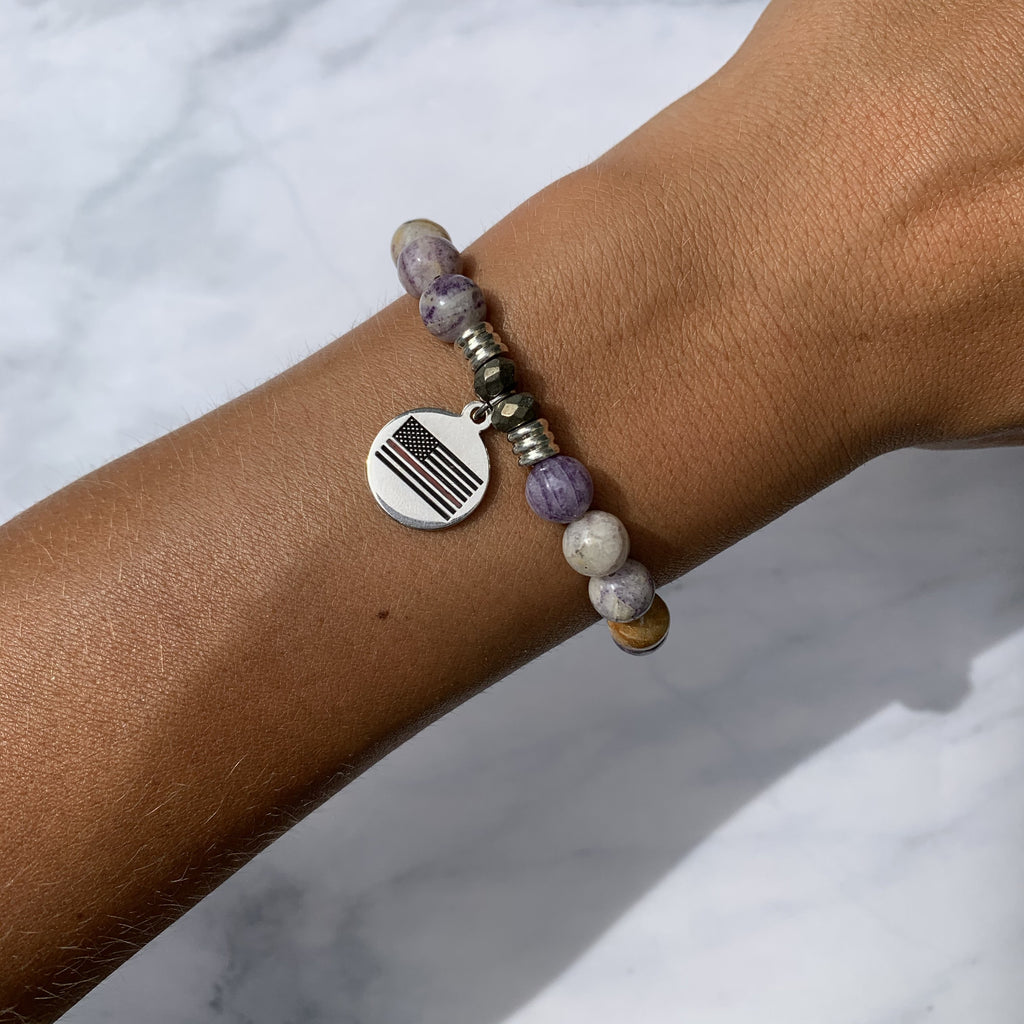 Sage Amethyst Agate Stone Bracelet with Fire and Rescue Sterling Silver Charm