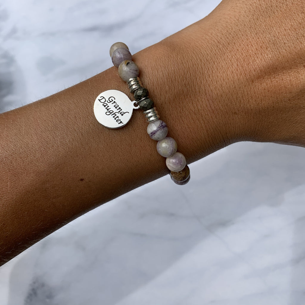 Sage Amethyst Agate Stone Bracelet with Granddaughter Endless Love Sterling Silver Charm