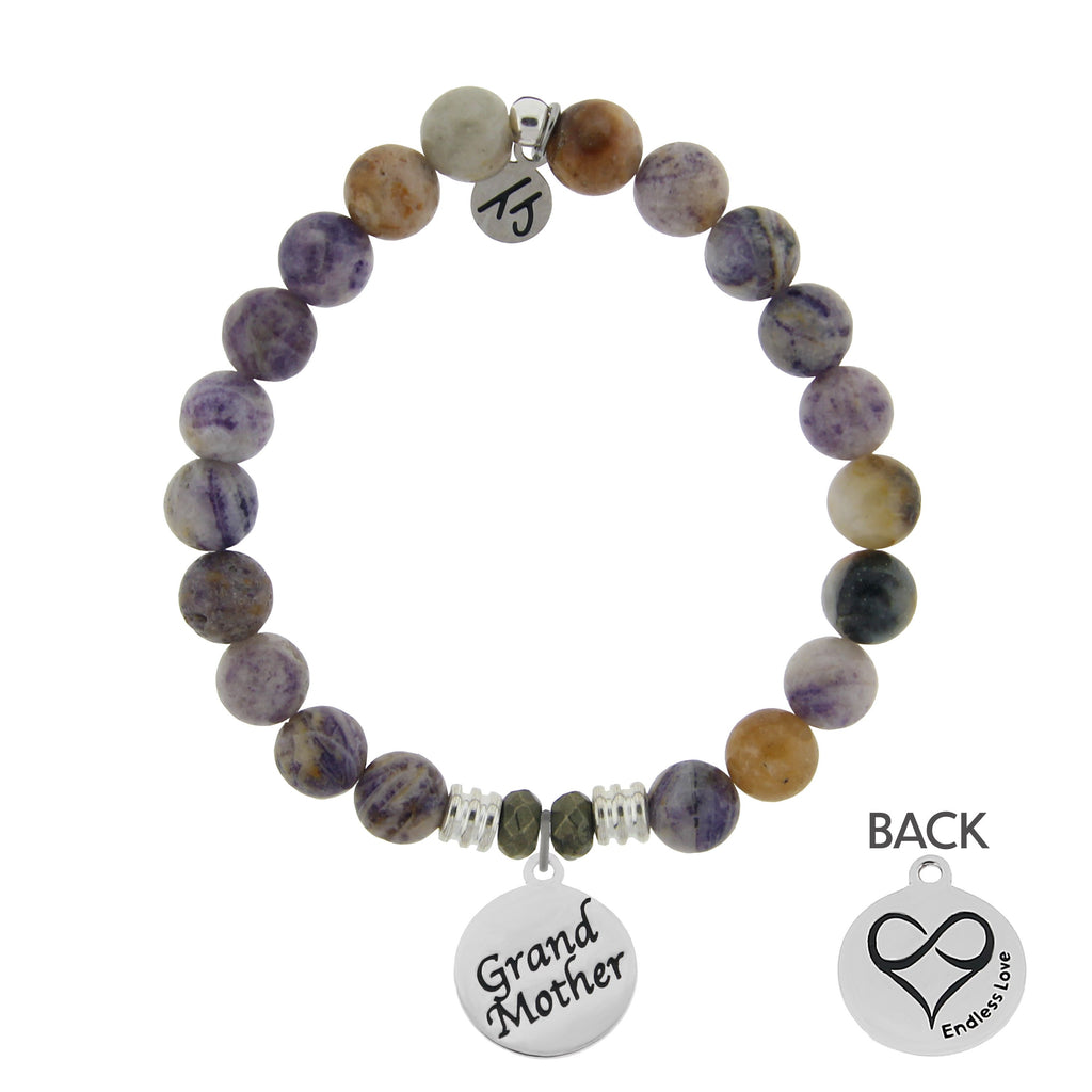 Sage Amethyst Agate Stone Bracelet with Grandmother Endless Love Sterling Silver Charm
