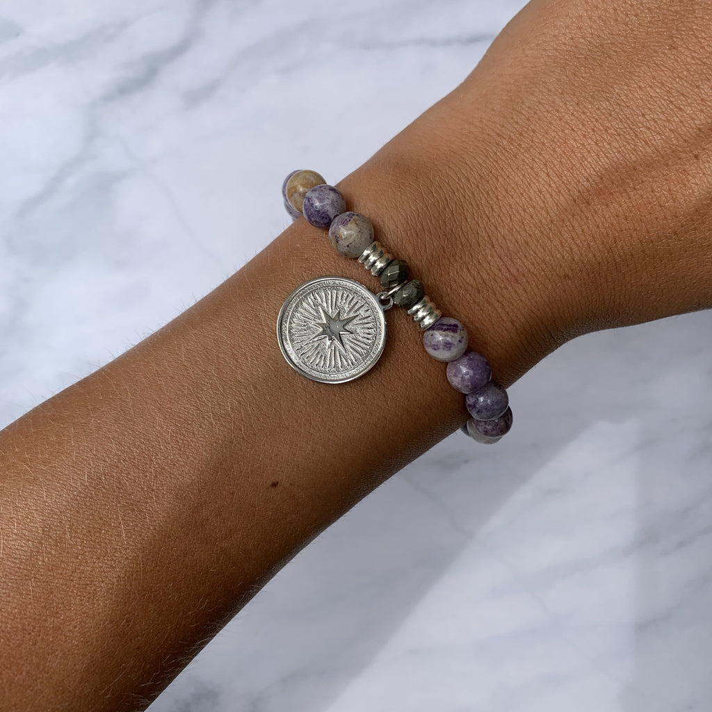Sage Amethyst Agate Stone Bracelet with Guidance Sterling Silver Charm