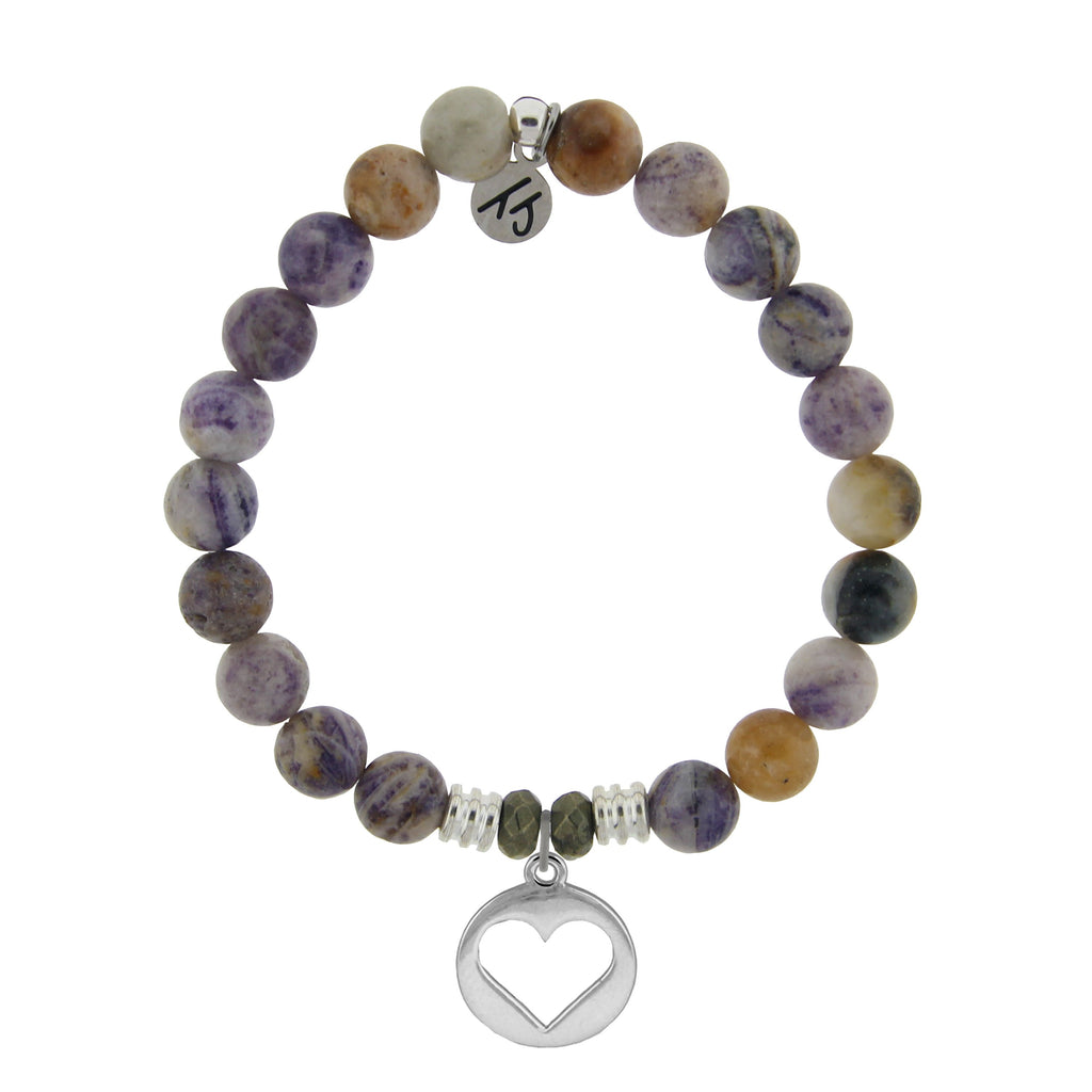 Sage Amethyst Agate Stone Bracelet with Heart Sterling Silver Charm