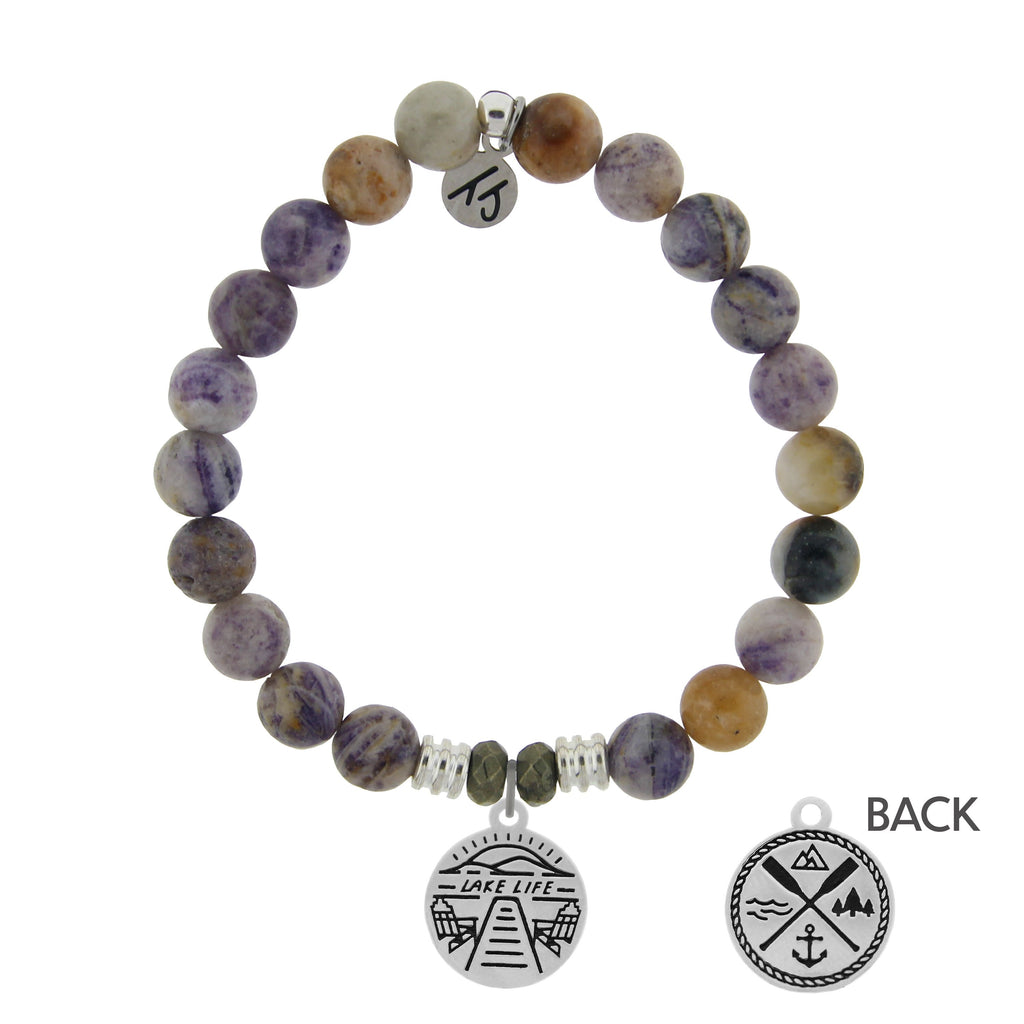Sage Amethyst Agate Stone Bracelet with Lake Life Sterling Silver Charm