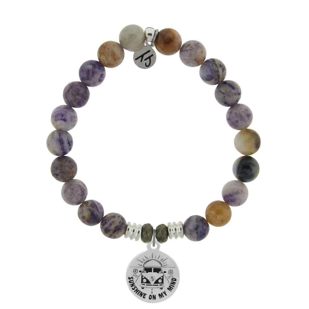 Sage Amethyst Agate Stone Bracelet with Life's a Journey Sterling Silver Charm