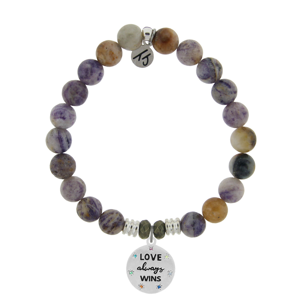 Sage Amethyst Agate Stone Bracelet with Love Always Wins Sterling Silver Charm