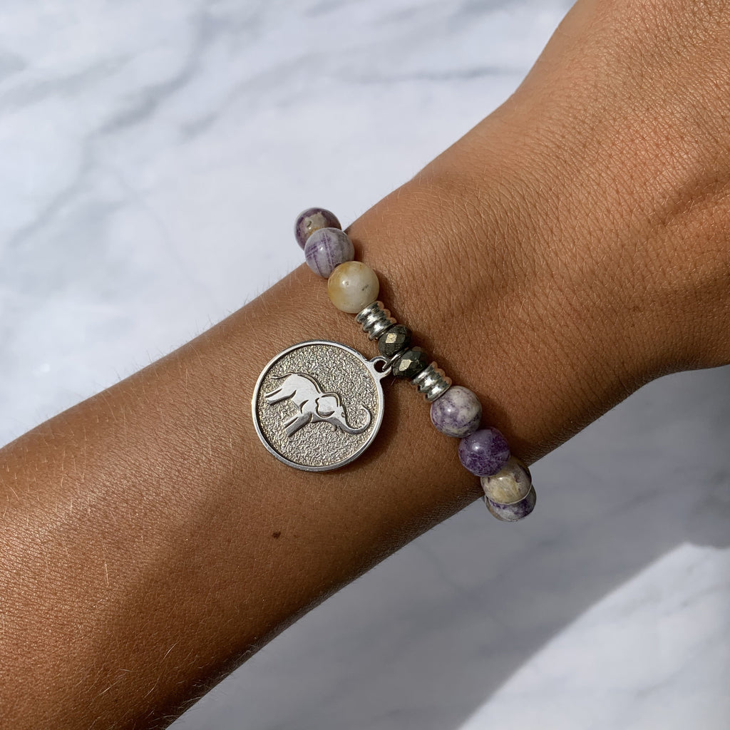 Sage Amethyst Agate Stone Bracelet with Lucky Elephant Sterling Silver Charm