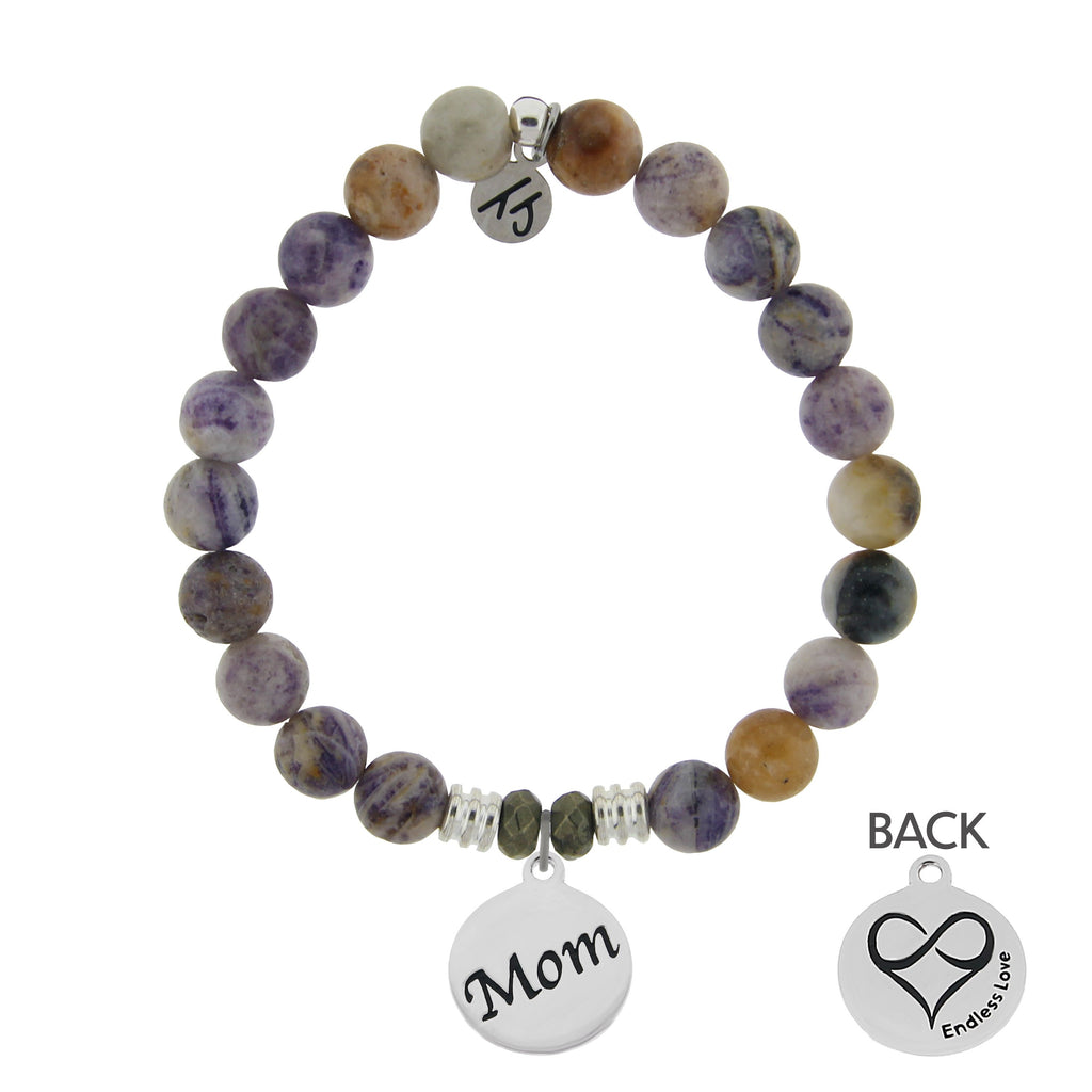 Sage Amethyst Agate Stone Bracelet with Mom Endless Love Sterling Silver Charm