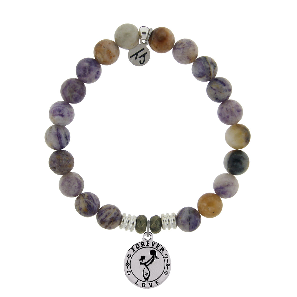 Sage Amethyst Agate Stone Bracelet with Mother's Love Sterling Silver Charm
