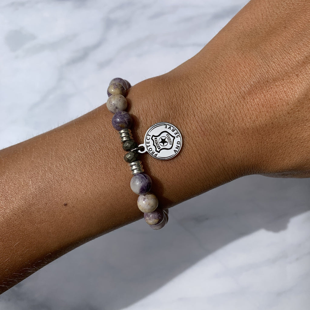 Sage Amethyst Agate Stone Bracelet with Protect and Serve Sterling Silver Charm