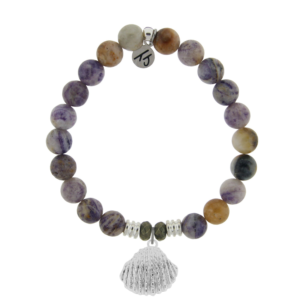 Sage Amethyst Agate Stone Bracelet with Seashell Sterling Silver Charm