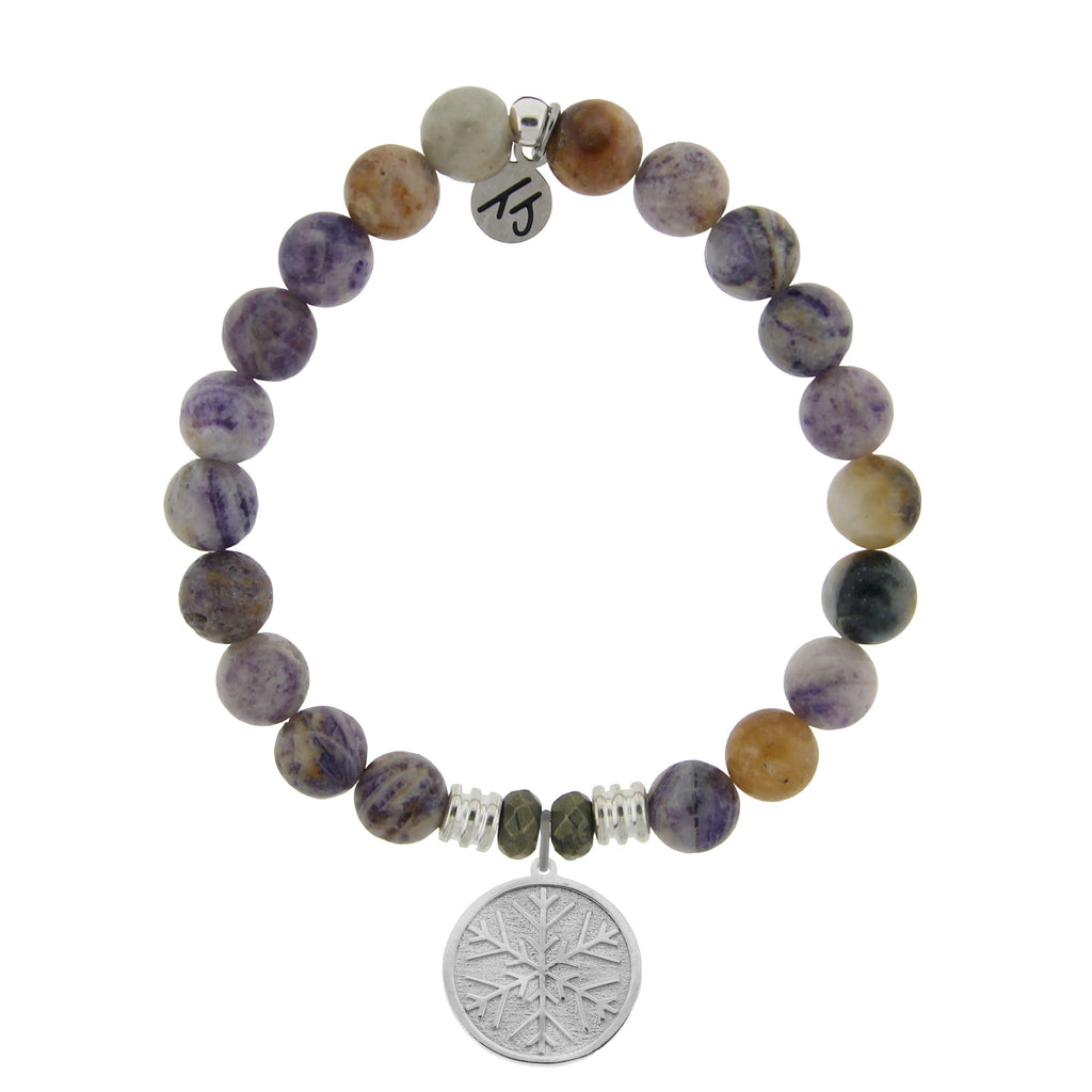 Sage Amethyst Agate Stone Bracelet with Snowflake Sterling Silver Charm