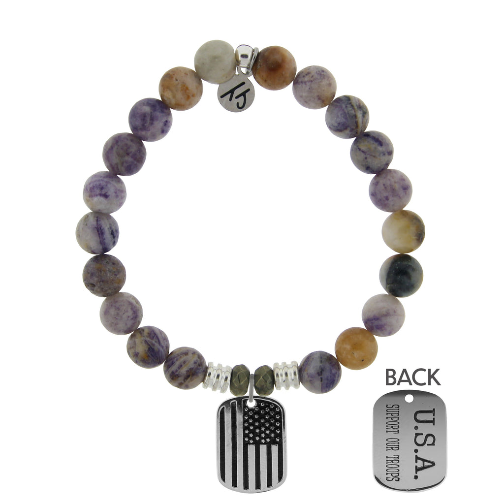 Sage Amethyst Agate Stone Bracelet with Support Our Troops Sterling Silver Charm