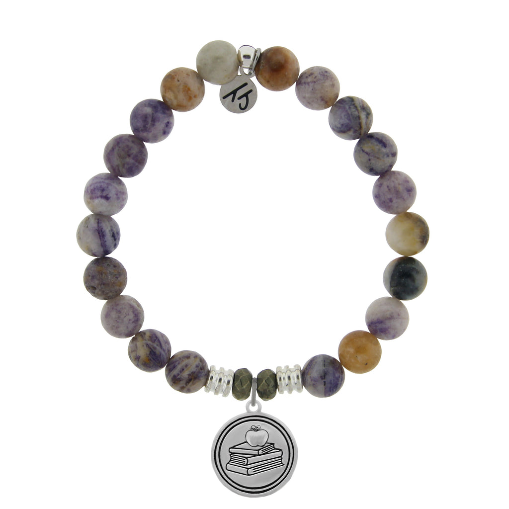 Sage Amethyst Agate Stone Bracelet with Teacher Sterling Silver Charm