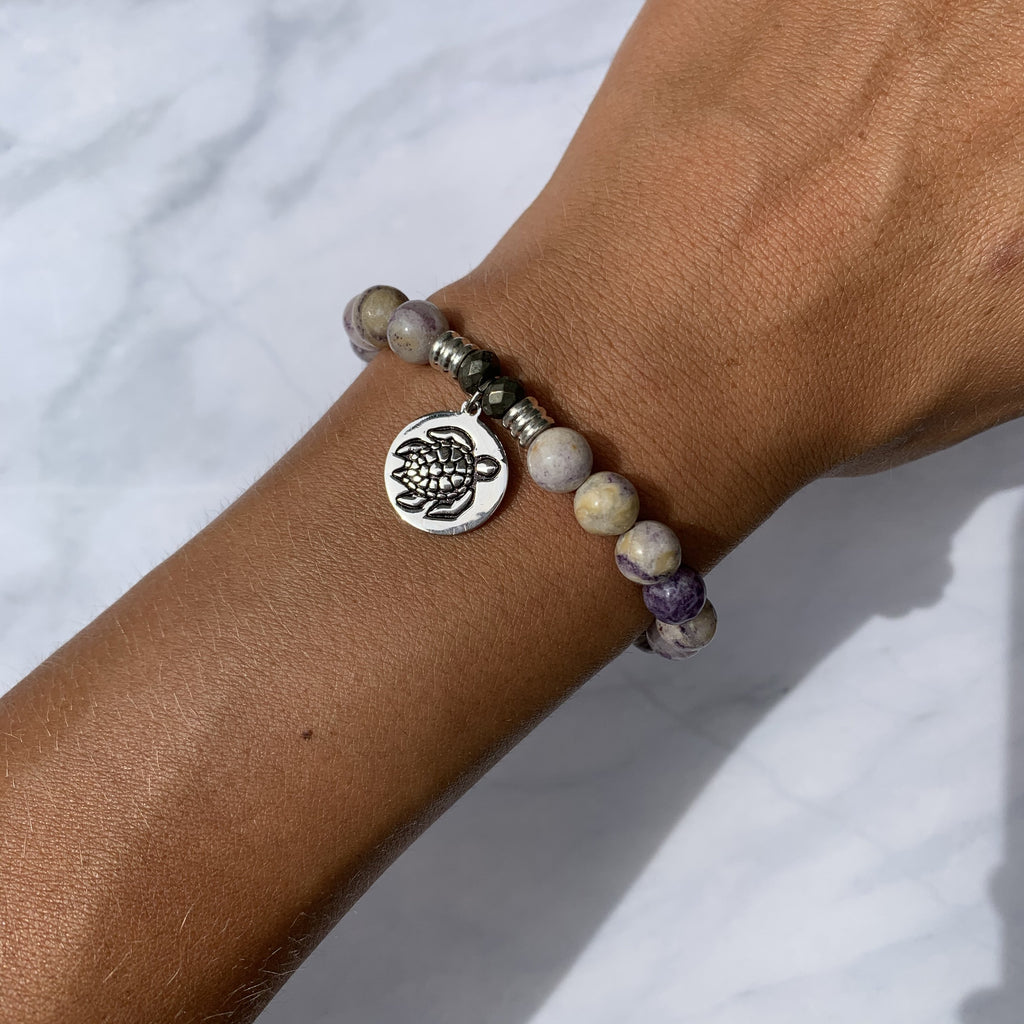 Sage Amethyst Agate Stone Bracelet with Turtle Sterling Silver Charm