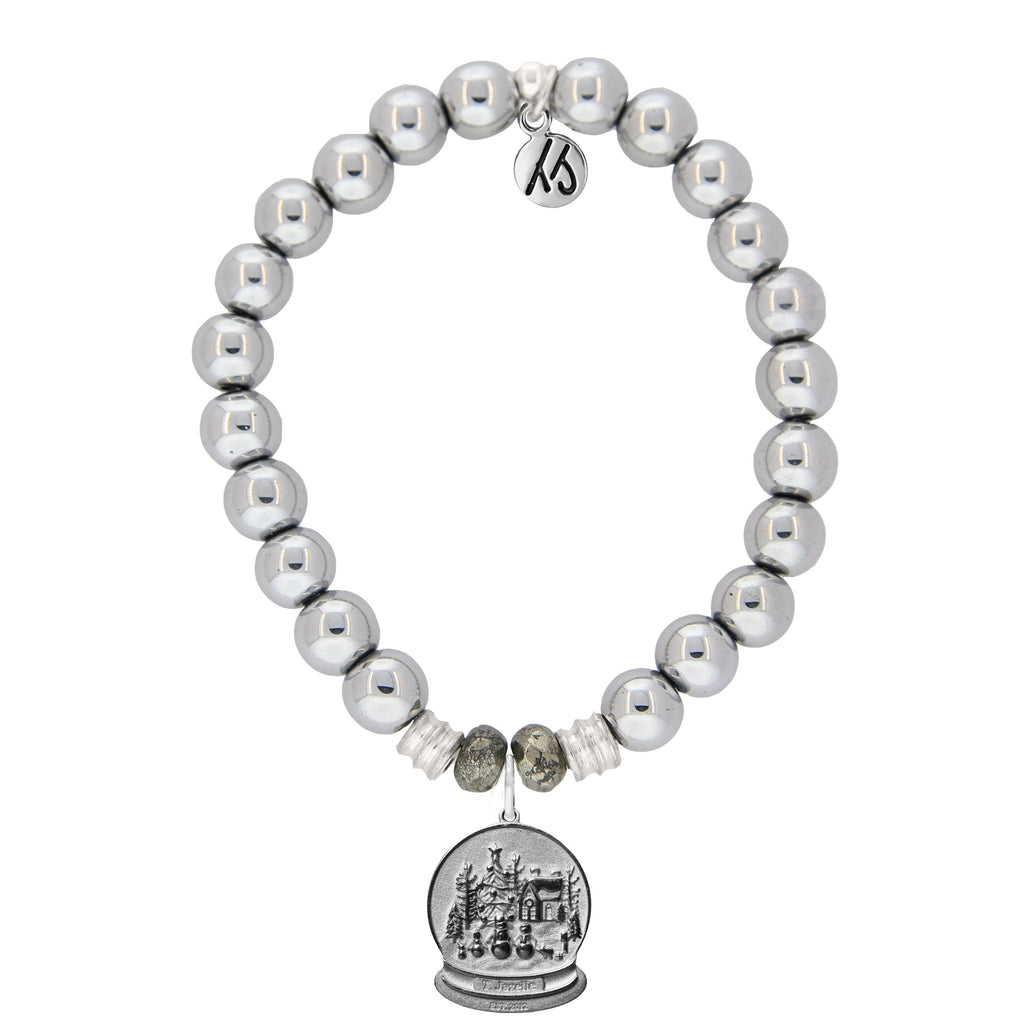 Silver Steel Bracelet with Winter Wonderland Sterling Silver Charm