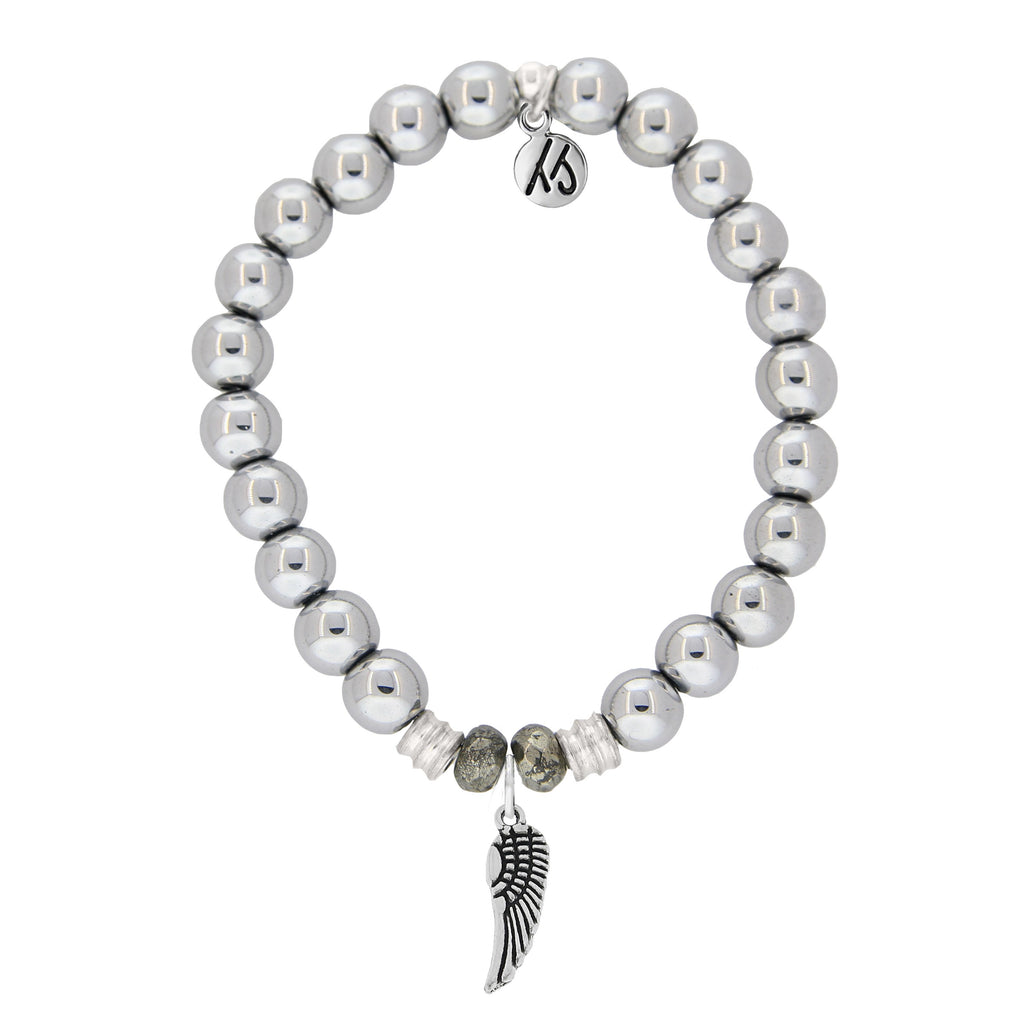 Stainless Steel Bracelet with Angel Wing Sterling Silver Charm