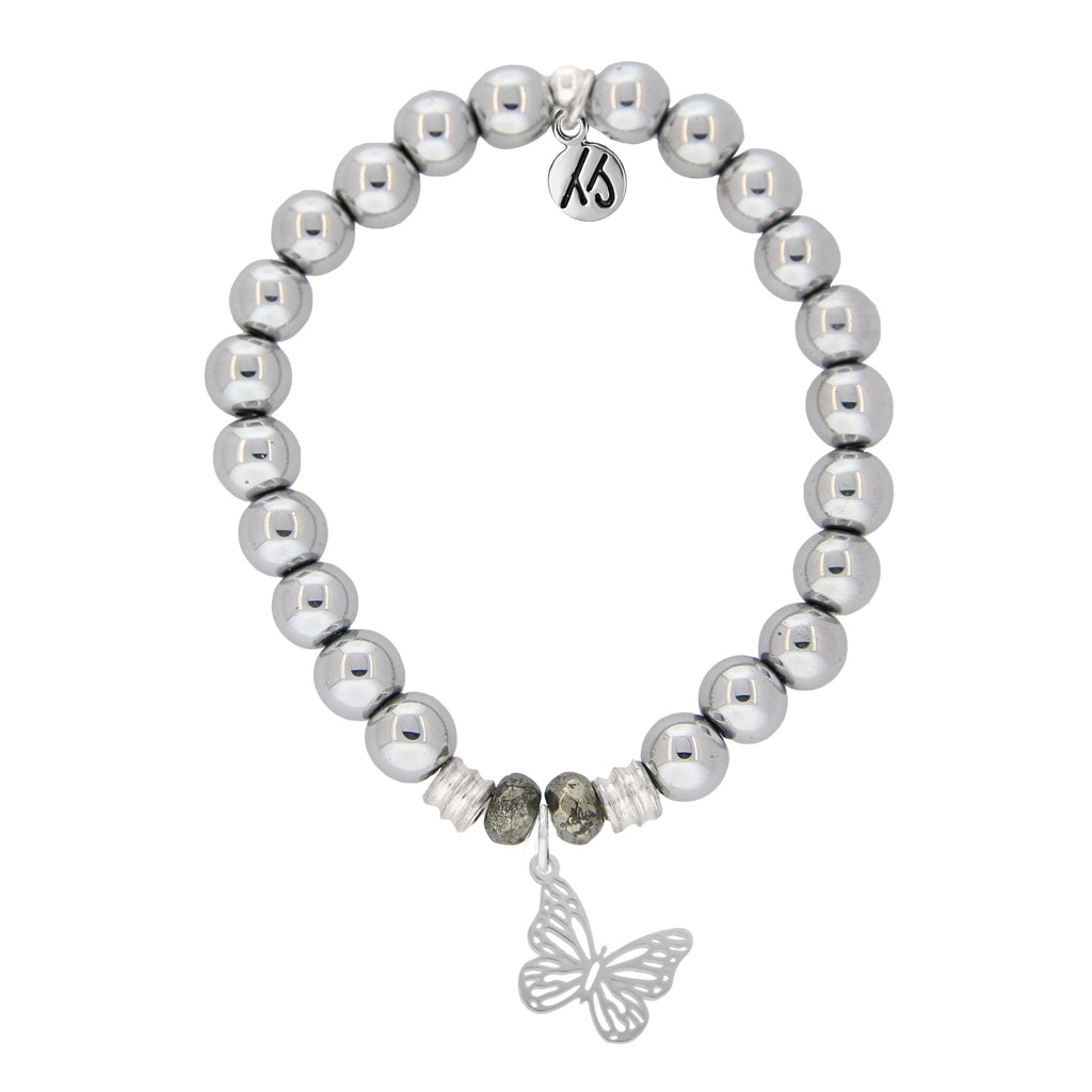 Stainless Steel Bracelet with Butterfly Sterling Silver Charm