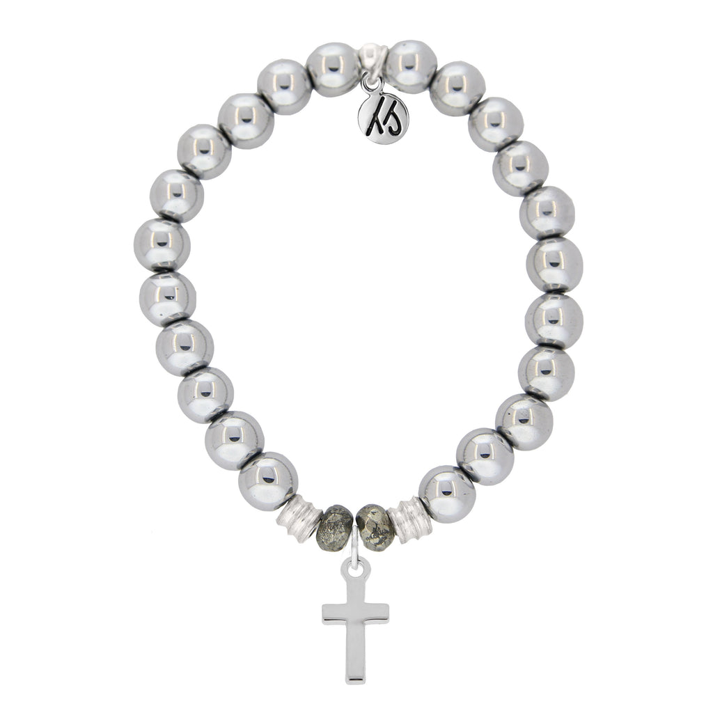 Stainless Steel Bracelet with Cross Sterling Silver Charm