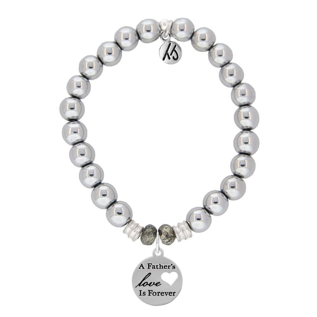 Stainless Steel Bracelet with Fathers Love Sterling Silver Charm