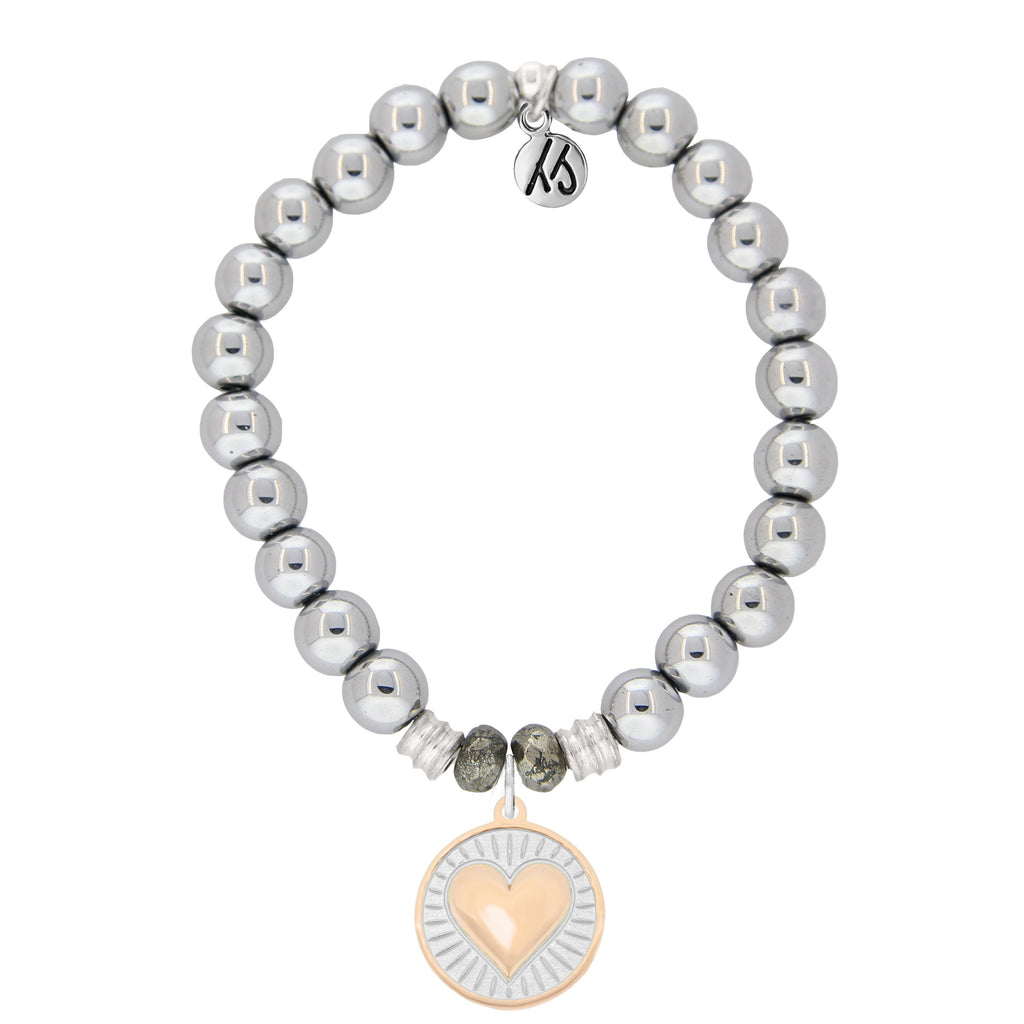 Stainless Steel Bracelet with Heart of Gold Sterling Silver Charm