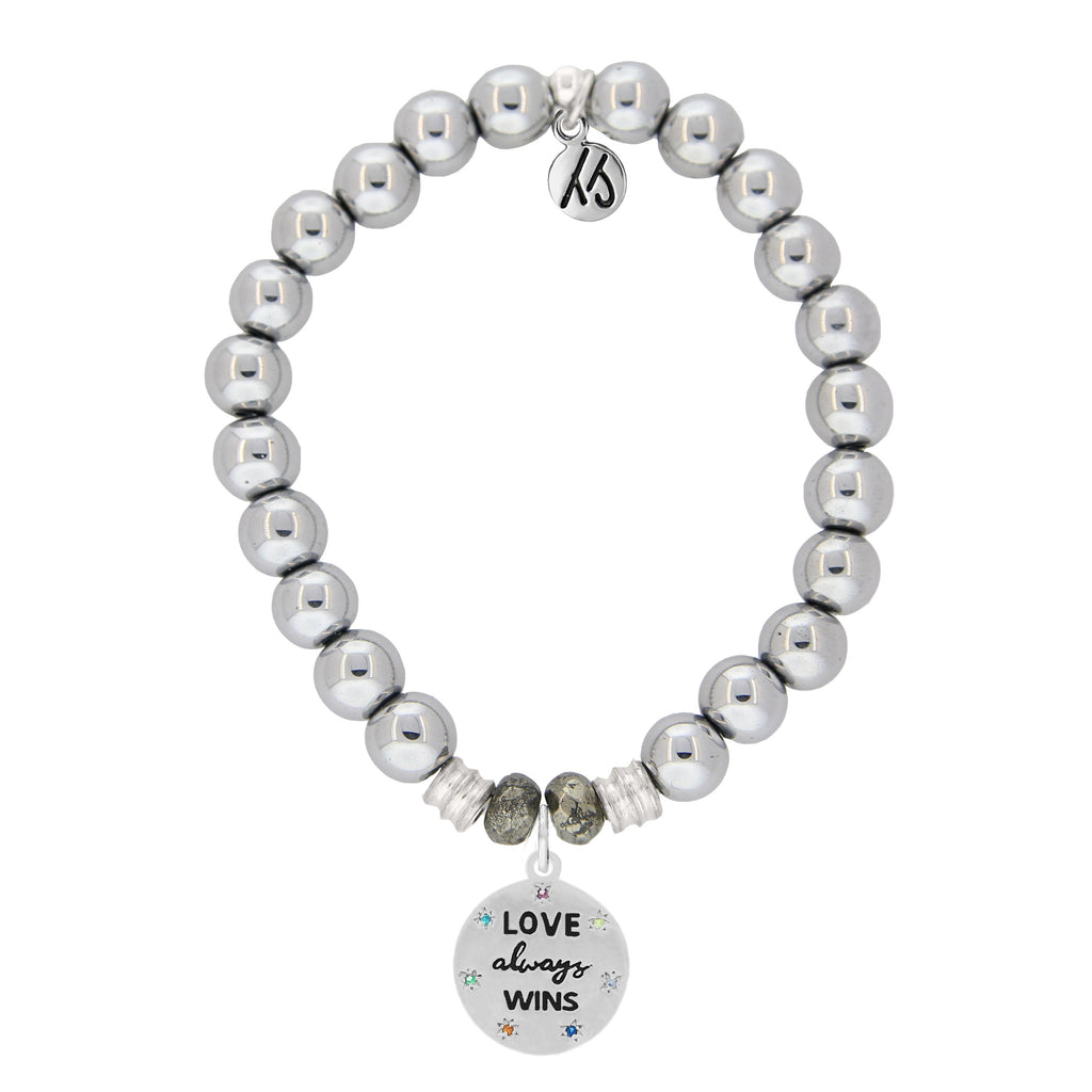 Stainless Steel Bracelet with Love Always Wins Sterling Silver Charm
