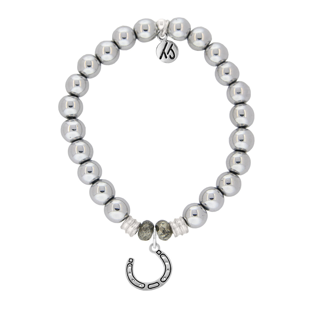 Stainless Steel Bracelet with Lucky Horseshoe Sterling Silver Charm