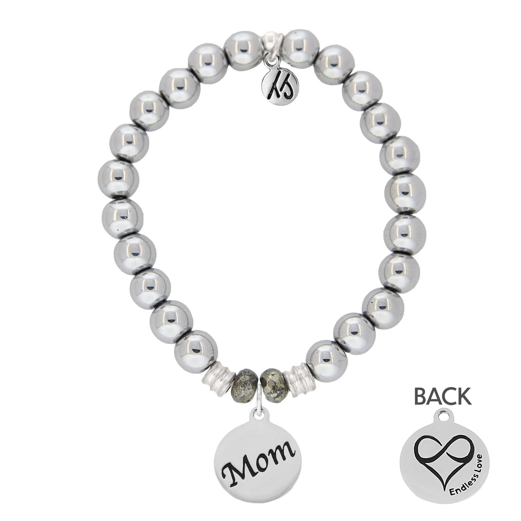Stainless Steel Bracelet with Mom Endless Love Sterling Silver Charm