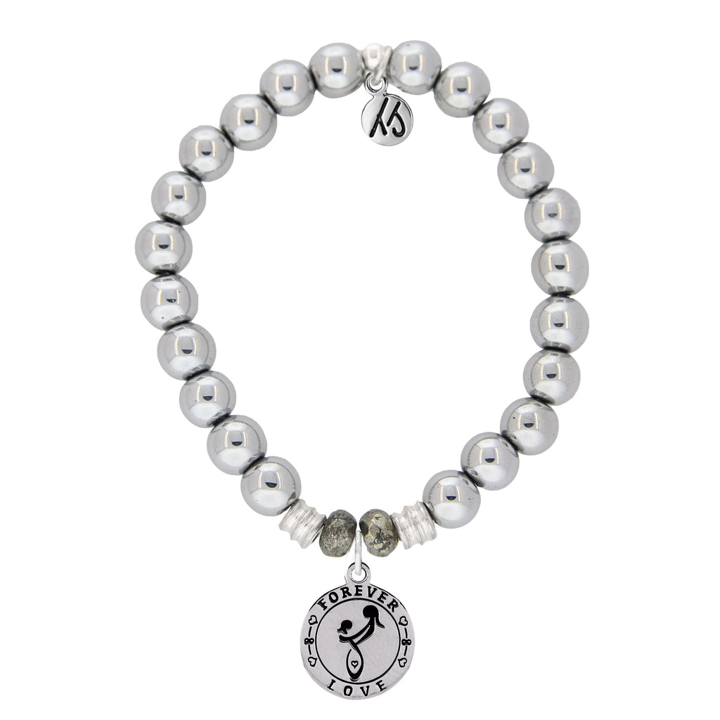 Stainless Steel Bracelet with Mother's Love Sterling Silver Charm