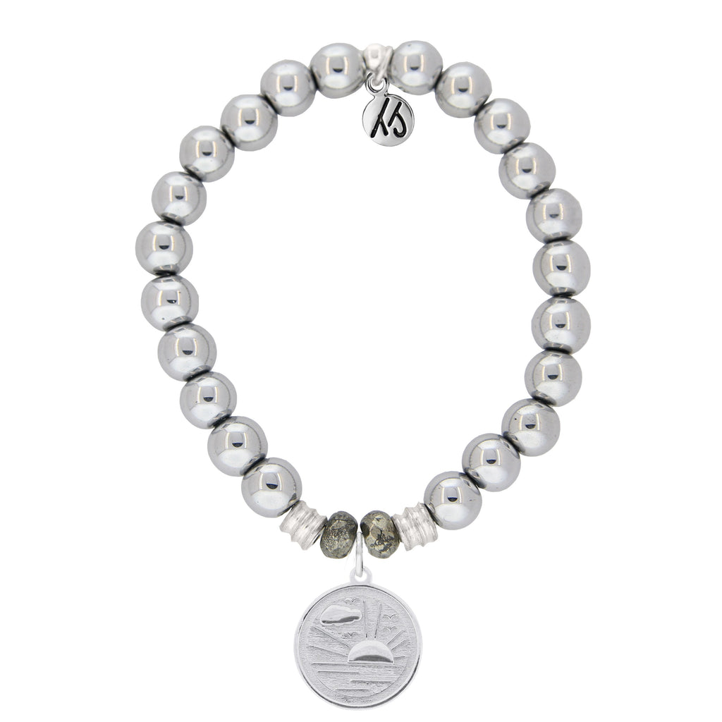 Stainless Steel Bracelet with New Day Sterling Silver Charm
