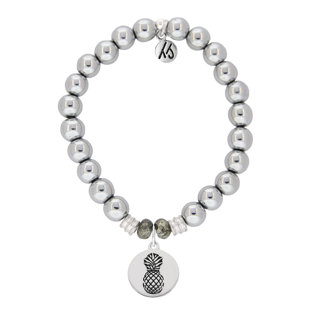 Stainless Steel Bracelet with Pineapple Sterling Silver Charm