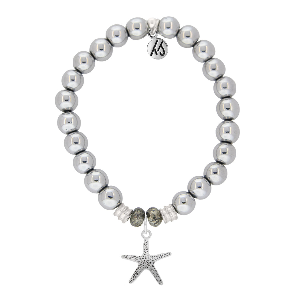 Stainless Steel Bracelet with Starfish Sterling Silver Charm