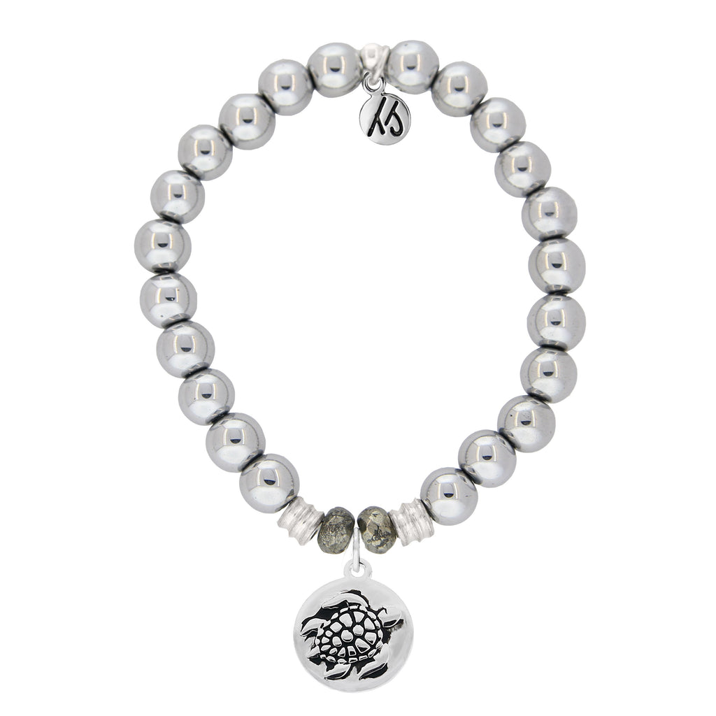 Stainless Steel Bracelet with Turtle Sterling Silver Charm