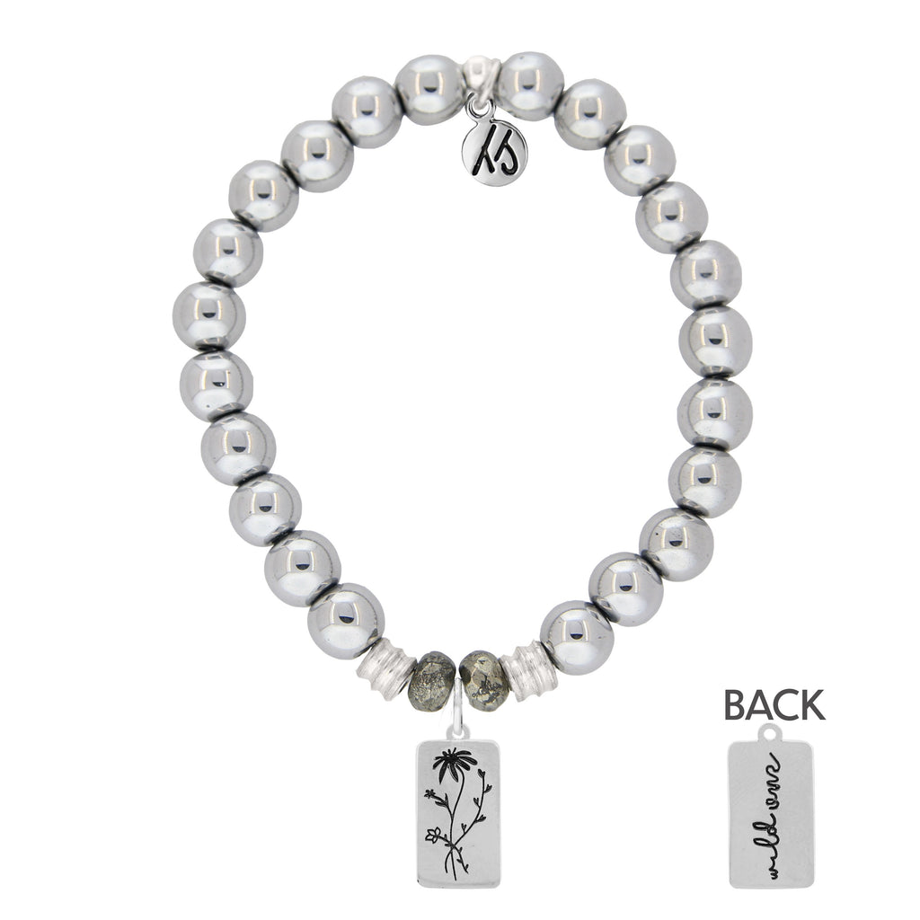 Stainless Steel Bracelet with Wild One Sterling Silver Charm