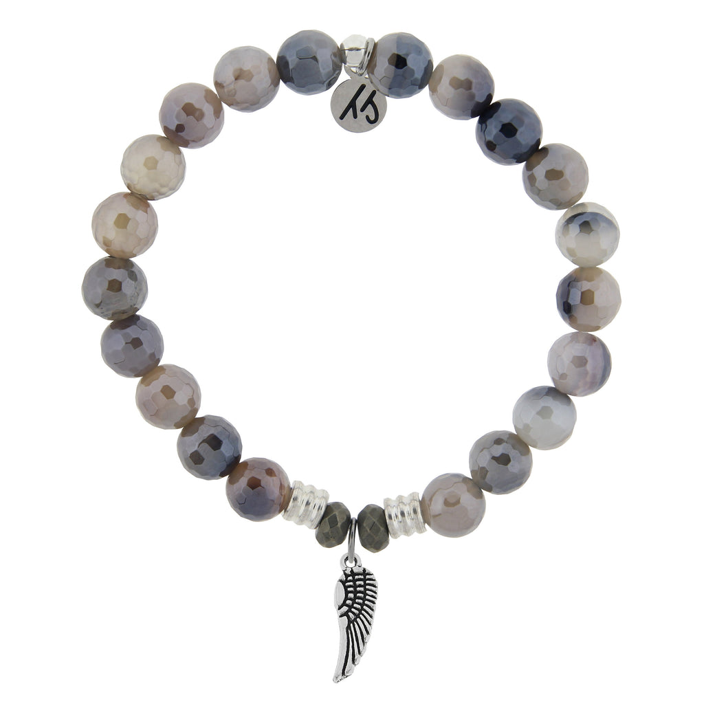 Storm Agate Stone Bracelet with Angel Wing Sterling Silver Charm