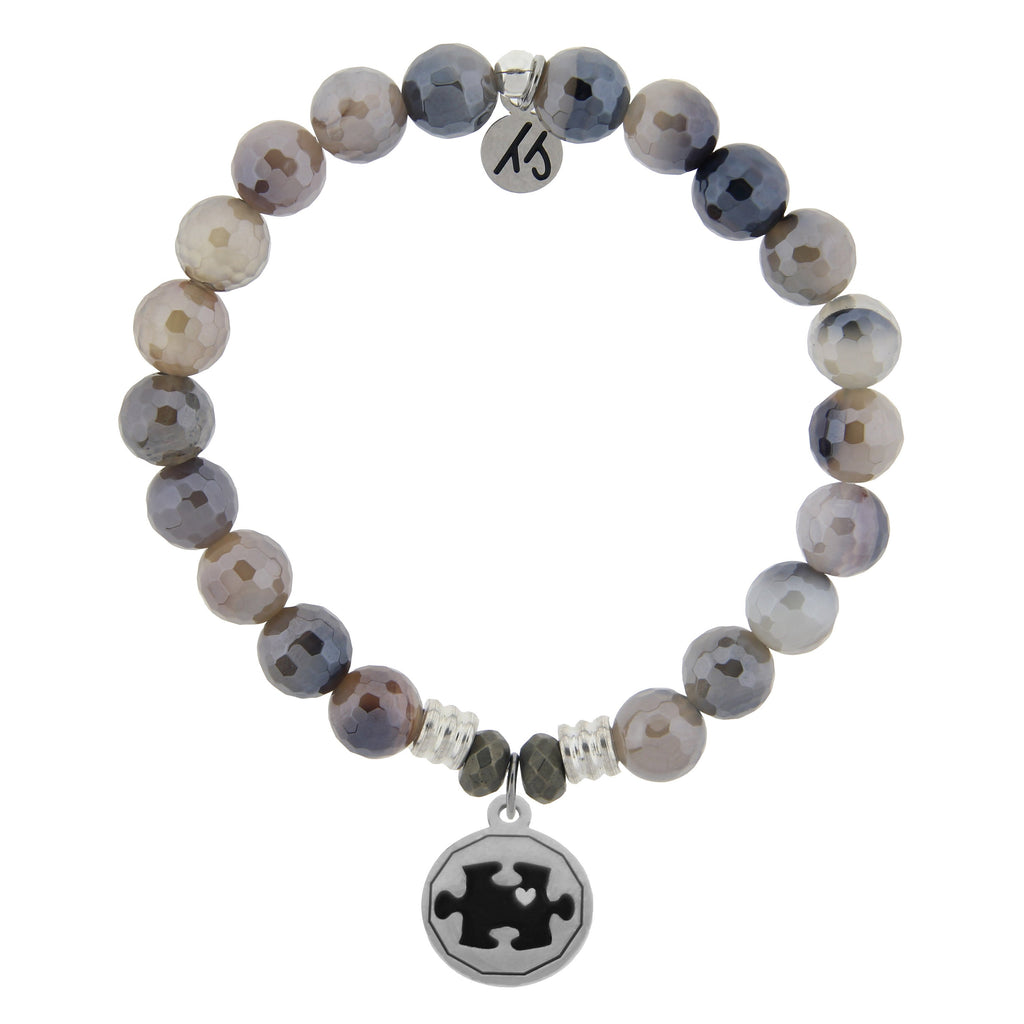 Storm Agate Stone Bracelet with Autism Awareness Sterling Silver Charm