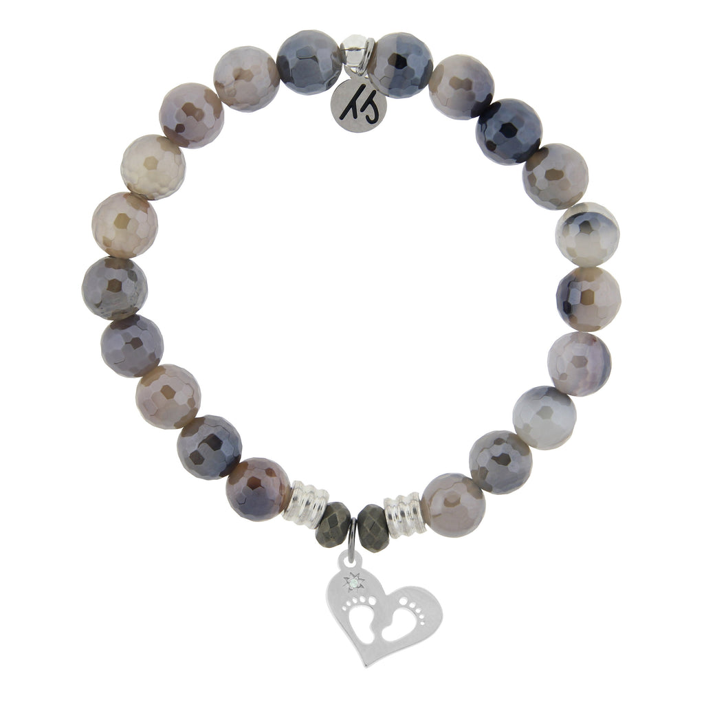 Storm Agate Stone Bracelet with Baby Feet Sterling Silver Charm