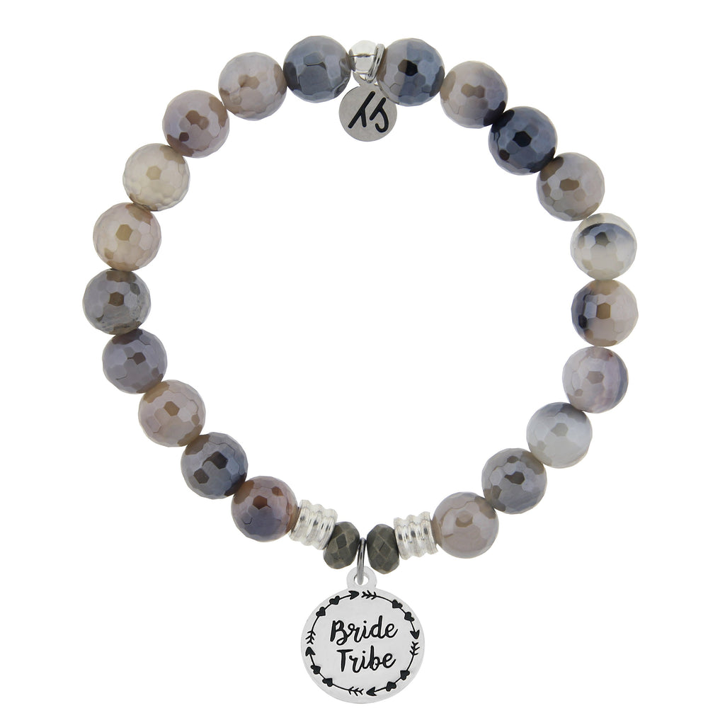 Storm Agate Stone Bracelet with Bride Tribe Sterling Silver Charm