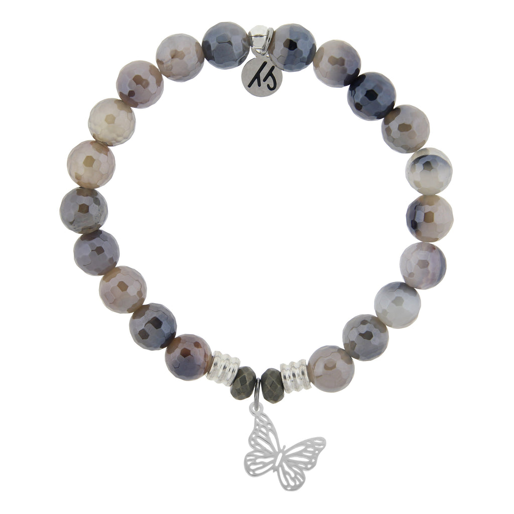 Storm Agate Stone Bracelet with Butterfly Sterling Silver Charm