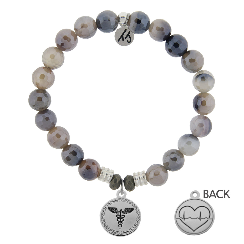 Storm Agate Stone Bracelet with Caduceus Sterling Silver Charm