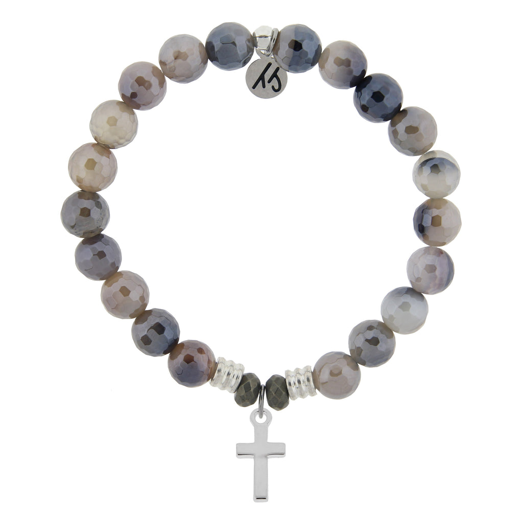 Storm Agate Stone Bracelet with Cross Sterling Silver Charm