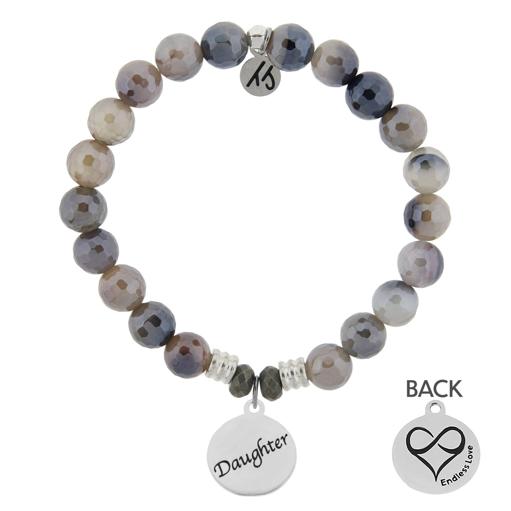 Storm Agate Stone Bracelet with Daughter Endless Love Sterling Silver Charm